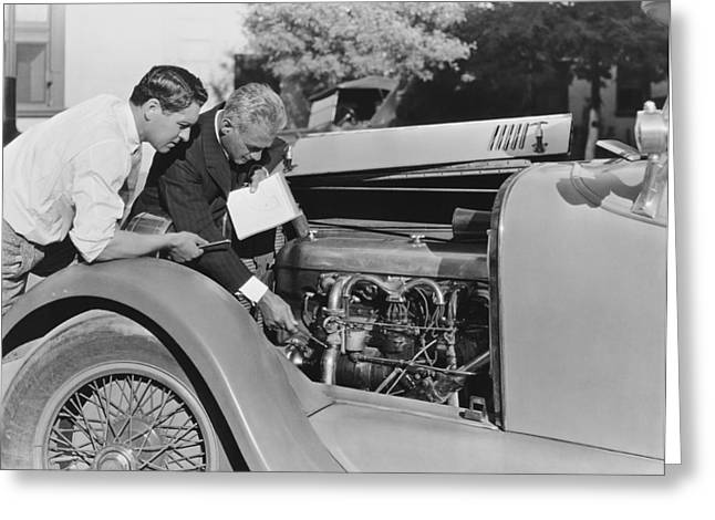 De Palma Gives Race Car Tips Greeting Card by Underwood Archives