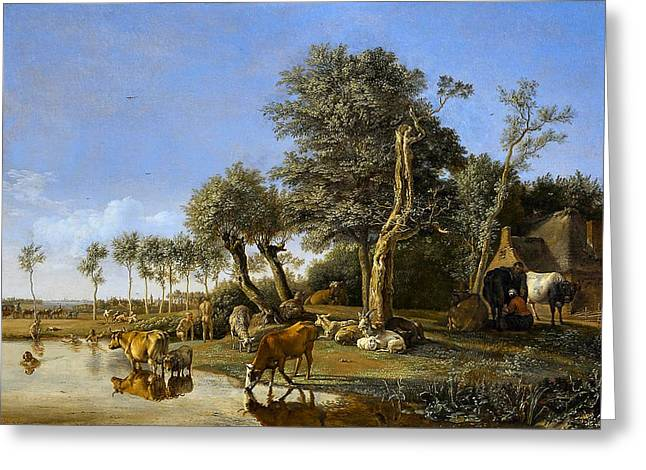 De Spiegelende Koe  Greeting Card by Paulus Potter