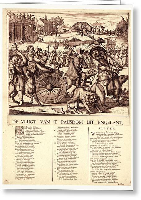 De Vlugt Van T Pausdom Uit Engelant, Hooghe, Romeyn De Greeting Card