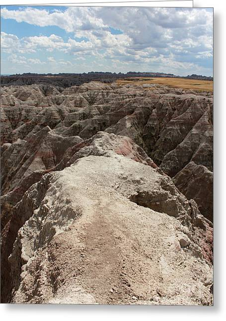 Dead End Trail In Badland National Park South Dakota Greeting Card by Adam Long