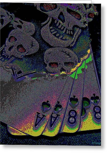 Dead Man's Hand Greeting Card by Rebecca Flaig