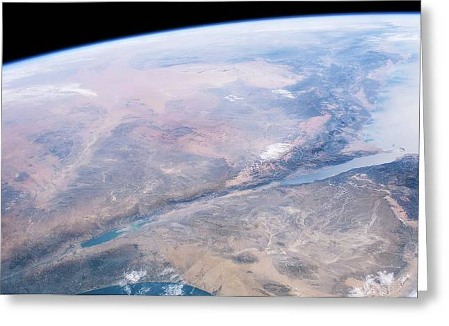 Dead Sea Salt Pans Greeting Card by Nasa