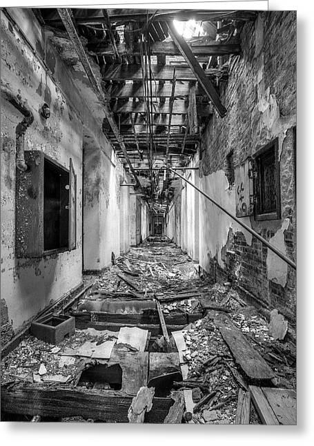Deadly Corridor - Abandoned Asylum Building Greeting Card by Gary Heller