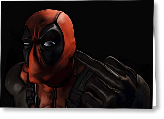 Greeting Card featuring the painting Deadpool by Jeff DOttavio