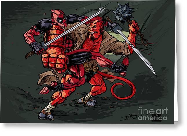 Greeting Card featuring the mixed media Deadpool Vs Hellboy by John Ashton Golden