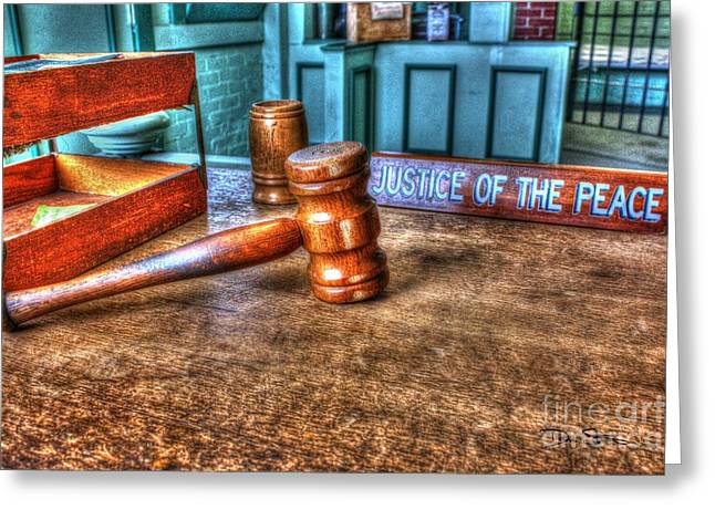 Dealing Justice Greeting Card by Dan Stone