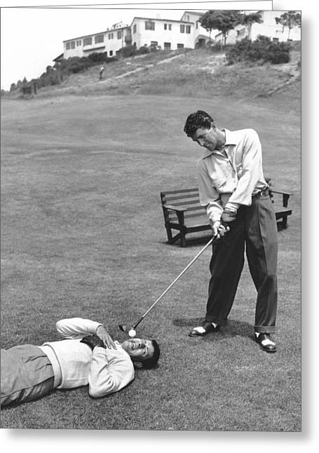 Dean Martin & Jerry Lewis Golf Greeting Card by Underwood Archives