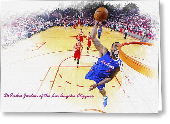 Deandre Jordan Of The Los Angeles Clippers Greeting Card
