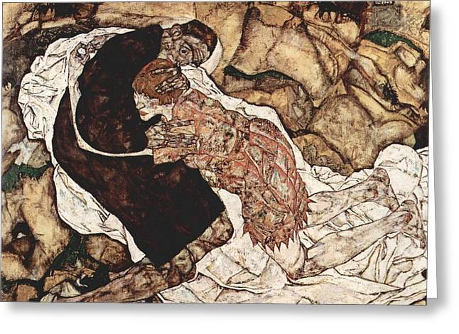 Death And The Maiden Greeting Card by Egon Schiele