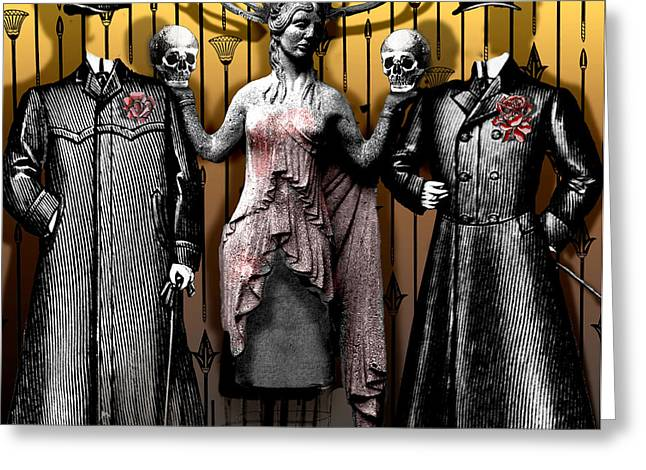 Death And The Maiden Greeting Card by Larry Butterworth