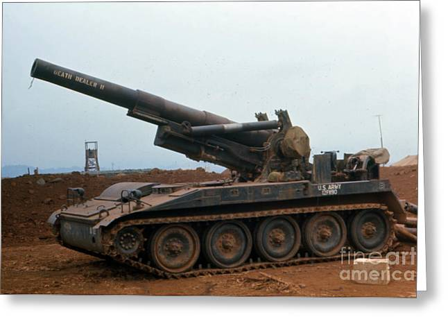 Death Dealer II  8 Inch Howitzer  At Lz Oasis Vietnam 1968 Greeting Card by California Views Mr Pat Hathaway Archives