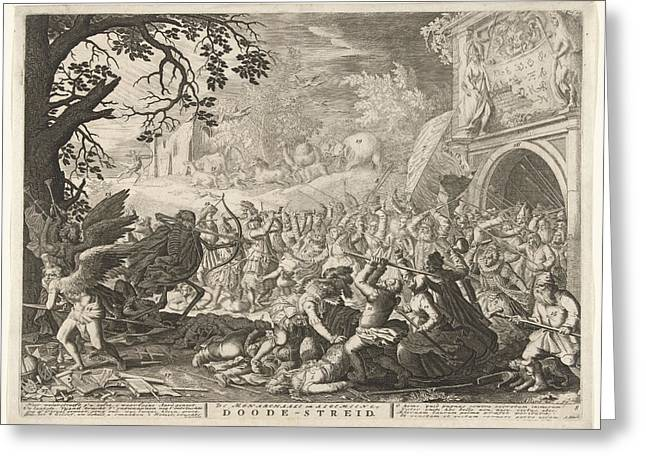 Death Fights Against Humanity Greeting Card by Bo?tius Adamsz. Bolswert And David Vinckboons And Abraham Allard