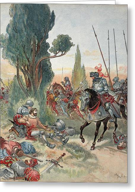 Death Of Bayard, Illustration Greeting Card by Albert Robida