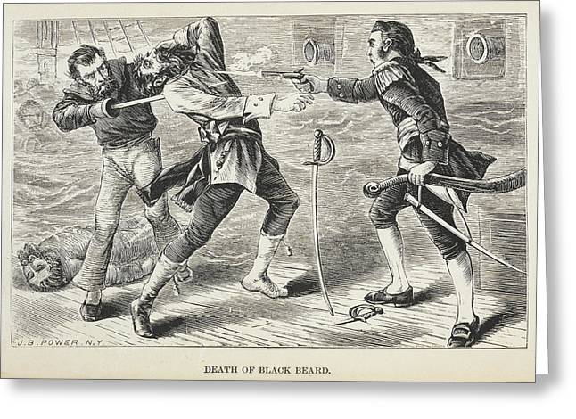Death Of Black Beard Greeting Card by British Library