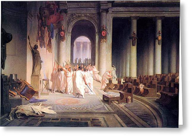 Death Of Caesar Greeting Card by Jean Leon Gerome