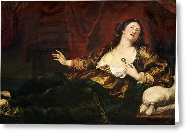 Death Of Cleopatra Vii 69-30 Bc Oil On Canvas Greeting Card by Sir Anthony van Dyck
