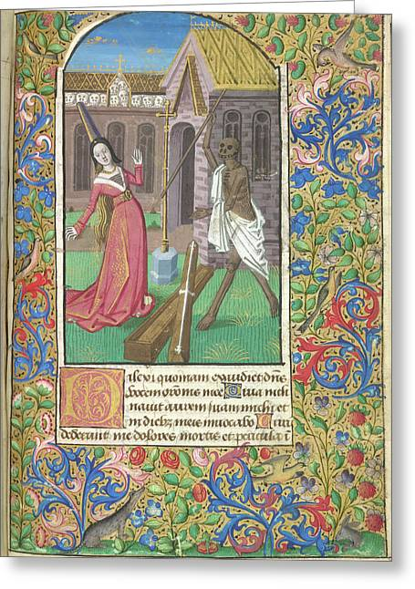 Death Overcoming A Lady Greeting Card by British Library