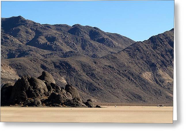 Death Valley Np Playa Moving Rocks 02 Greeting Card by Jeff Brunton