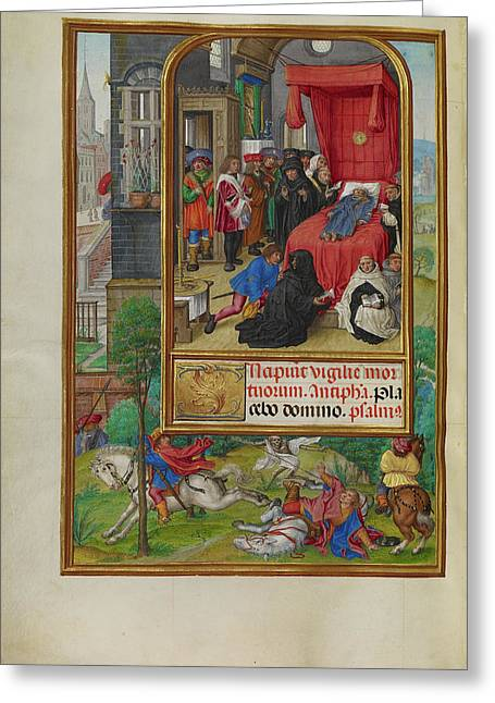 Deathbed Scene Master Of James Iv Of Scotland, Flemish Greeting Card by Litz Collection