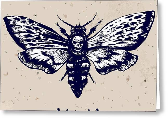 Deaths-head Hawkmoth. Hand Drawn Vector Greeting Card