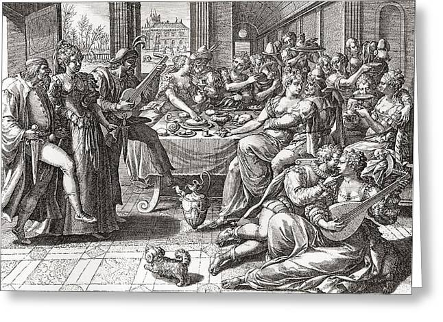 Debauchery And Licentiousness In The 16th Century, After The Painting By Marten De Vos.  From Greeting Card