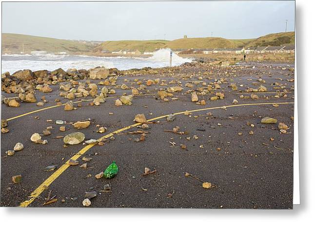 Debris Hurled Onto The Seafront Greeting Card by Ashley Cooper
