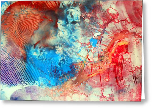 Greeting Card featuring the painting Decalcomaniac Colorfield Abstraction Without Number by Otto Rapp