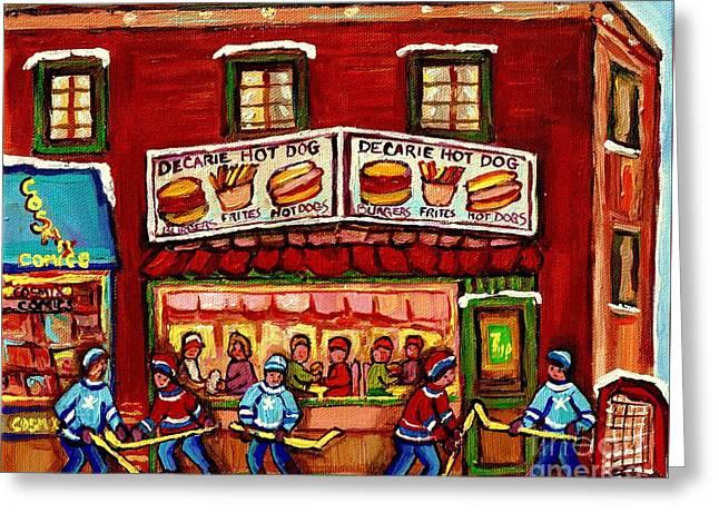 Decarie Hot Dog Restaurant Cosmix Comic Store Montreal Paintings Hockey Art Winter Scenes C Spandau Greeting Card