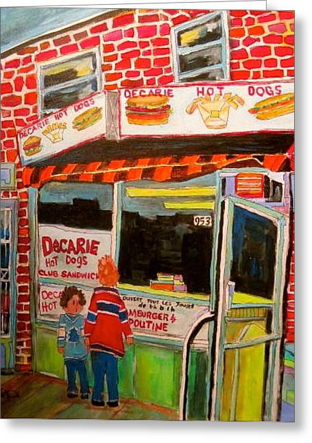 Decarie Hot Dogs Montreal Greeting Card by Michael Litvack
