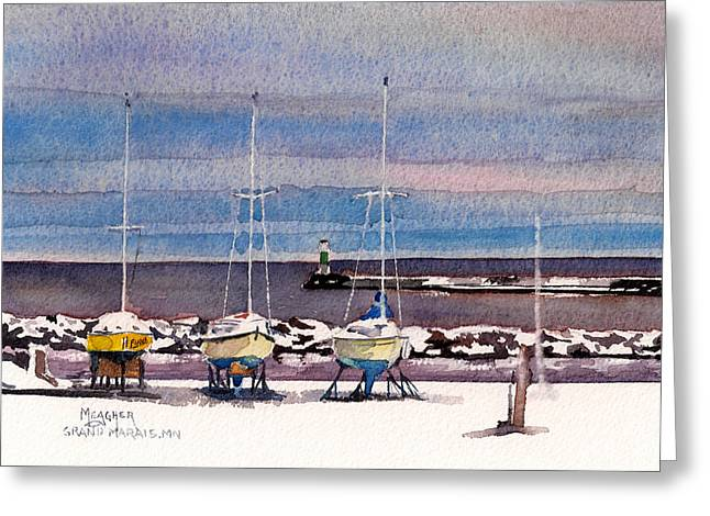 December In Grand Marais Greeting Card by Spencer Meagher