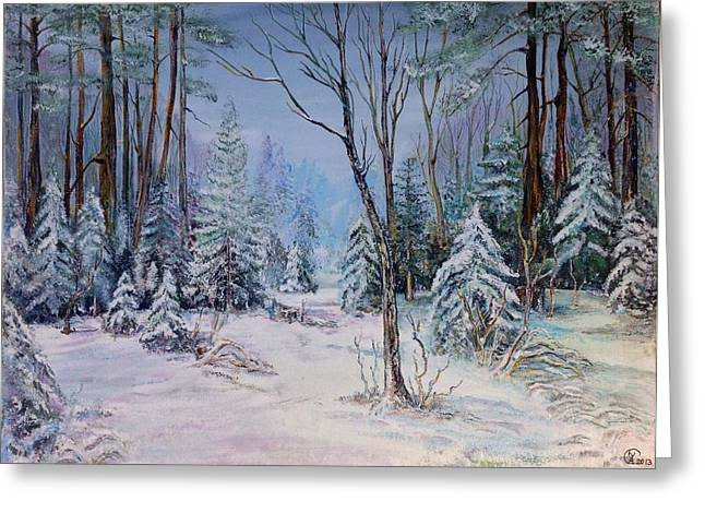 Greeting Card featuring the painting December Light by Iya Carson