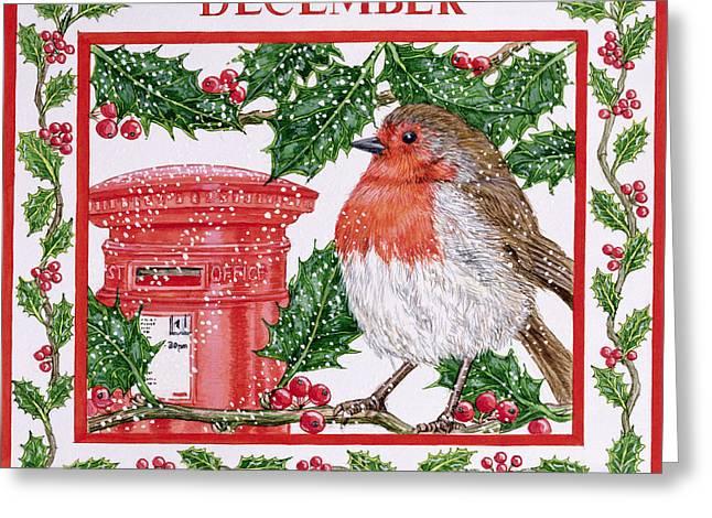 December Wc On Paper Greeting Card by Catherine Bradbury