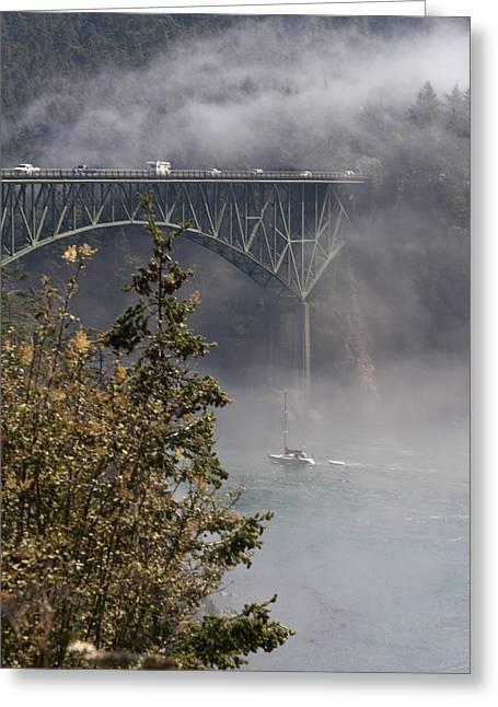 Deception Pass Bridge Fog Greeting Card