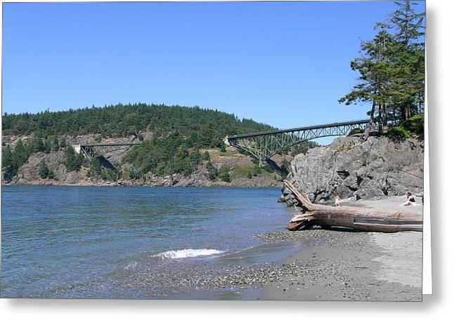 Deception Pass Bridge II Greeting Card by Mary Gaines