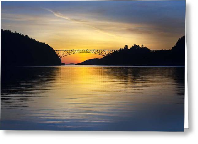 Deception Pass Bridge Greeting Card by Sonya Lang