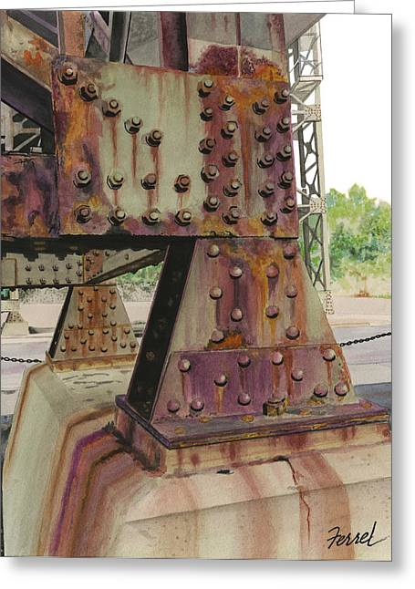 Greeting Card featuring the painting Declining Infrastructure by Ferrel Cordle