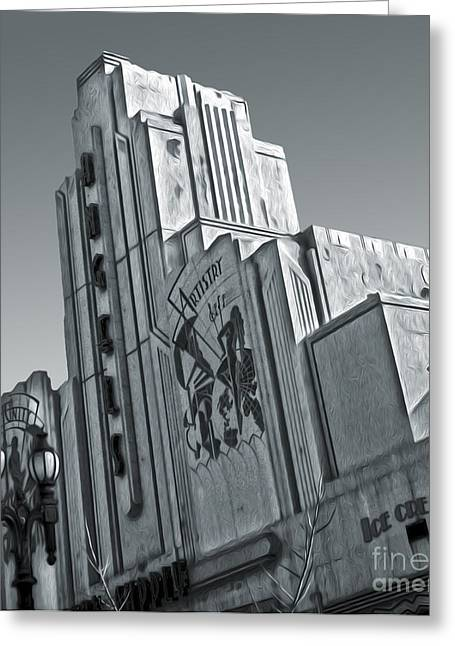 Deco Building In Black And White Greeting Card by Gregory Dyer