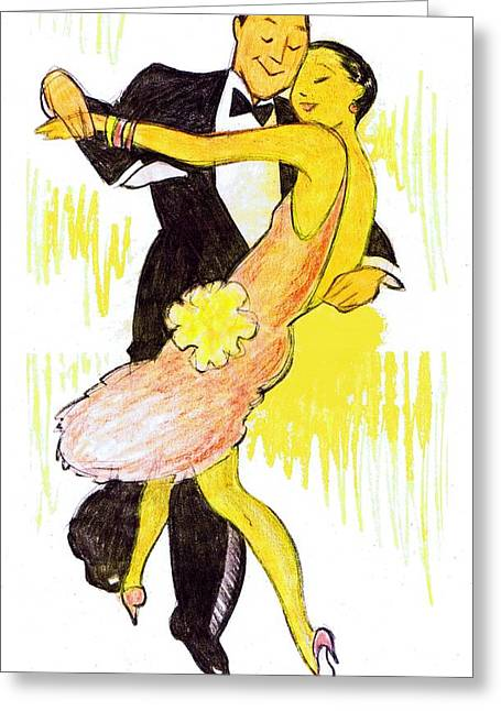 Deco Dancers Greeting Card by Mel Thompson