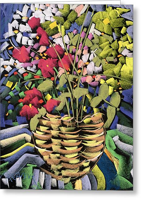 Deco Flowers Greeting Card by Frances Treanor