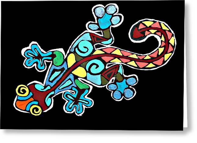 Deco Gecko Greeting Card by Brandy Nicole Neal