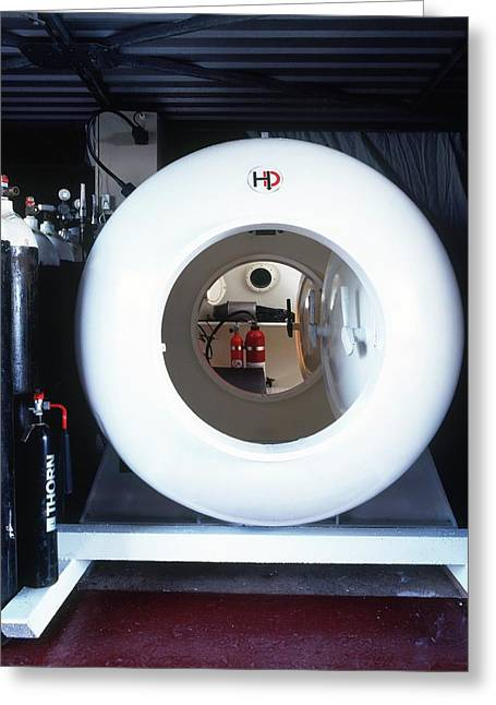 Decompression Chamber And Row Oxygen Tank Greeting Card by Dorling Kindersley/uig