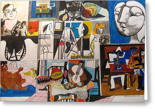 Deconstructing Picasso - Women And Musicians Greeting Card