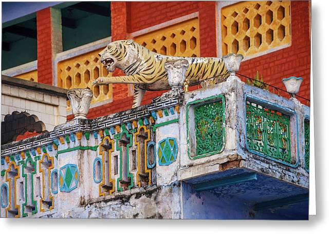 Decorated Balcony With A Tiger Statue Greeting Card