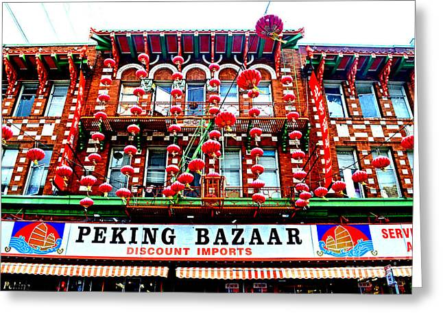 Decorated Building In Chinatown In San Francisco Greeting Card by Jim Fitzpatrick