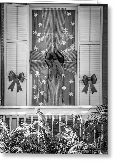 Decorated Christmas Window Key West  - Black And White Greeting Card by Ian Monk