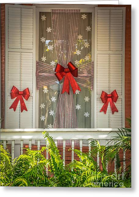 Decorated Christmas Window Key West  - Hdr Style Greeting Card by Ian Monk