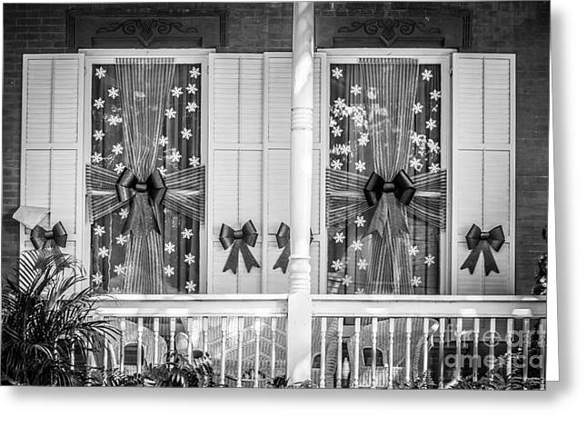 Decorated Christmas Windows Key West - Black And White Greeting Card by Ian Monk