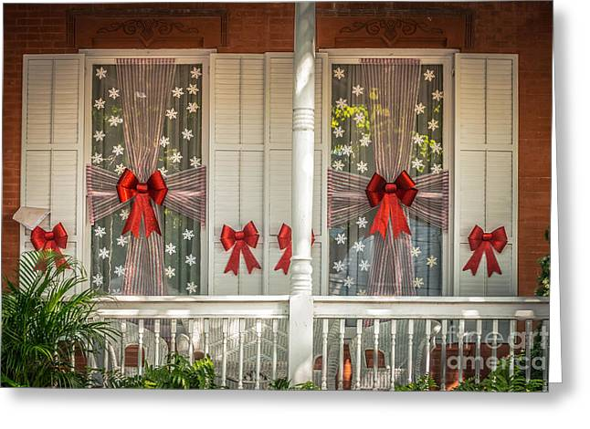 Decorated Christmas Windows Key West - Hdr Style Greeting Card by Ian Monk