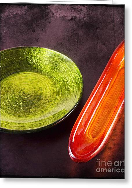 Decoration Plate With Small Glassy Boat Greeting Card by Mohamed Elkhamisy