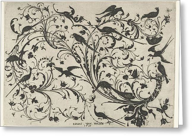 Decoration With Flowers And Birds, Anonymous Greeting Card by Anonymous